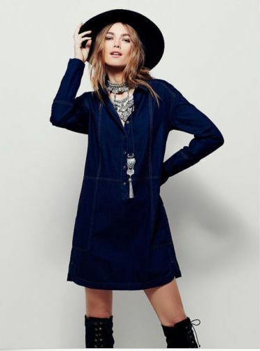 NEW Free People Blau Denim Top Stitch Mini Dress Cotton  Sold Out in Stores