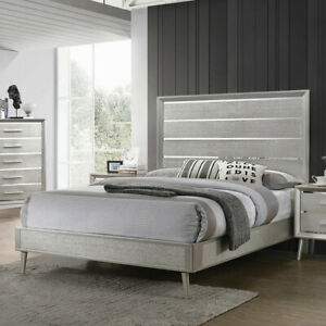 Details about SILVER METALLIC STERLING MIRRORED ACRYLIC QUEEN BED BEDROOM  FURNITURE