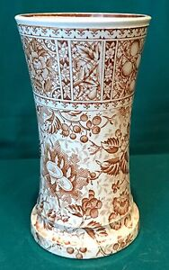 "Aesthetic Transferware Small Vase - ""French"" Brown & White"
