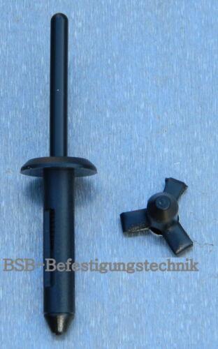 50 Stk SPREIZNIETEN Kunststoff 4,9x22  Kopf 12mm  schwarz