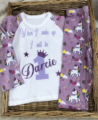 Unicorn Birthday Pyjamas 1st Up To 7 Years OR Purple Lilac Baby Girl Pjs Set