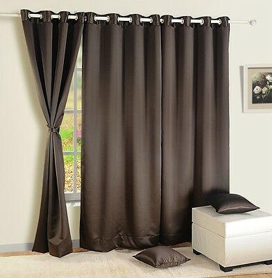 Swayam Choclate Brown Colour Solid Blackout Eyelet Door Curtain - Window Curtain