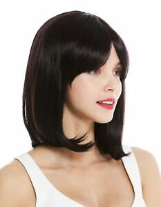 Details About Womens Wig Shoulder Length Long Bob Smooth Balayage Dark Brown Purple Mix