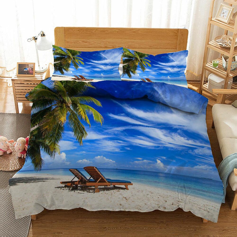 Romantic Beach 3D Quilt Duvet Doona Cover Set Single Double Queen King Print