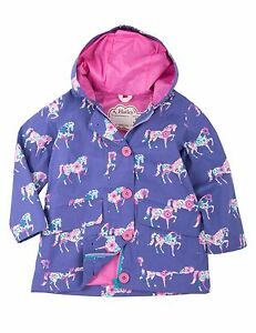 e3bd0d0db Image is loading BNWT-Hatley-Girls-Floral-Horses-Cotton-Coated-Raincoat-