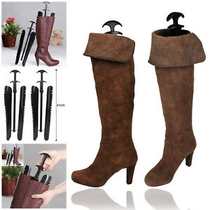 1-Pairs-Lady-Women-Automatic-Boot-Trees-Shapers-With-Handle-12-5-inch-Black-UK