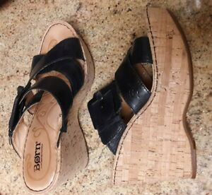 Born Womens 8 Black Leather Strappy Buckle Cork Wedge Heels Sandals Slides EUC