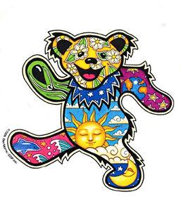 Sun Moon Dolphin Dancing Grateful Dead Bear Vinyl Sticker