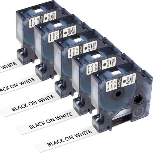 """US STOCK 1PK 45013 Black on White Label Tape For DYMO D1 S0720530 12mm 1//2/"""""""