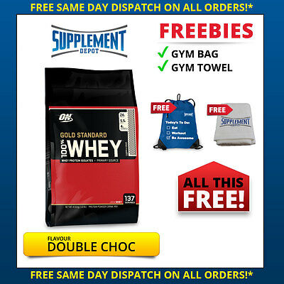 OPTIMUM NUTRITION 100% WHEY 10LBS DOUBLE CHOCOLATE GOLD STANDARD PROTEIN 4.5KG*