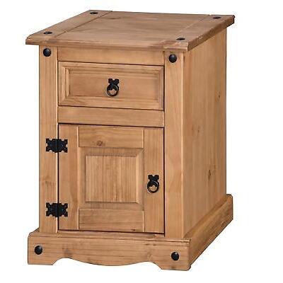 Corona Large Pot Bedside 1 Door 1 Drawer Table Cabinet Pine by Mercers Furniture