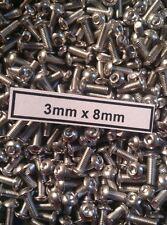 (100) 3mm x 8mm Button Head Stainless Steel Screws Team KNK Hardware Bulk Axial