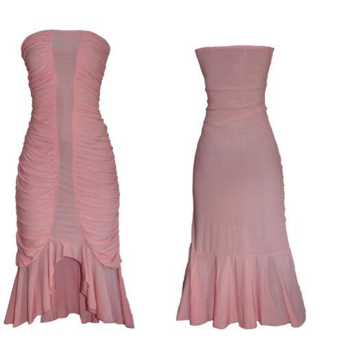 Damen Kleid Abendkleind Cocktailkleid Bandeau S//M Elegant Romantik Lang ROSA Neu