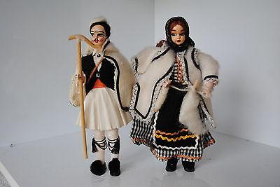 (n°6) Ancienne Poupee Folklorique Doll Pays Grece Couple De Bergers Design Professionale