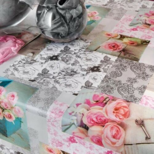 Toile Cirée Nappe largeur 160 cm Roses Patchwork b9040-01 rectangulaire environ ovale