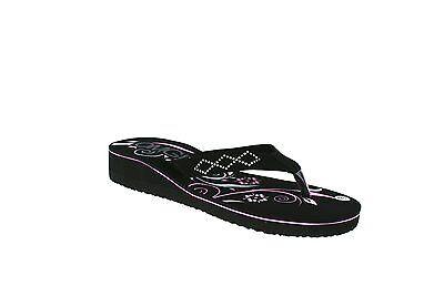 Señoras Para Mujer Chicas Nuevas Toe Post bajo Cuña Flip Flop Verano Sandalias Zapatos Talla