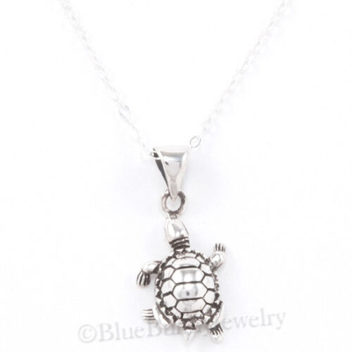 """TURTLE Necklace Tortoise Charm Pendant Reptile STERLING SILVER 18/"""" Cute 925 .925"""