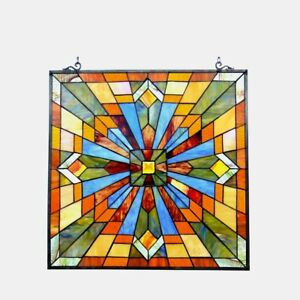 Mission Stained Glass Hanging Window Panel Home Decor Suncatcher 24""