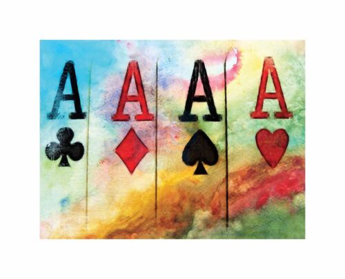 Cultural Abstract Painting Card Ace Club Spade Heart Diamond Canvas Print