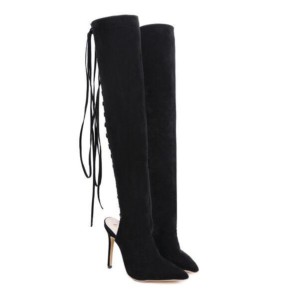Stivali stivaletti nero ginocchio coscia traforati 11 stiletto simil 1669 pelle 1669 simil 0a46c5