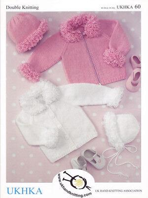 Baby DK Double Knitting Pattern Kids Long Sleeved Cardigan Bonnet Hat UKHKA 60