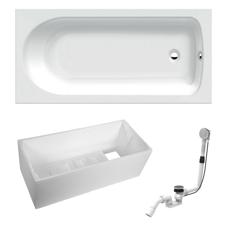 Top Hersteller Acryl Badewanne Set 170 x 75 cm inkl. Ablaufgarnitur Wannenträger