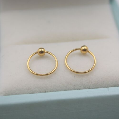 New Pure Au750 18K Yellow Gold Women Smooth Bead Hoop Earrings 0.5-0.7g 12x3mm