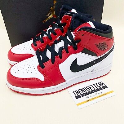hormigón A escala nacional Escribir  NIKE AIR JORDAN 1 MID CHICAGO WHITE TOE GS RED UK 4 4.5 5 5.5 6 6.5 WOMENS  SIZE | eBay