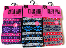 3 PAIRS OF WOMENS LADIES COTTON RICH THICK FAIRISLE KNEE HIGH WELLY  BOOT SOCKS