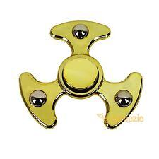 Gold Fidget Hand Spinner Toy Anxiety Stress Relief Focus EDC UFO ADHD Metallic