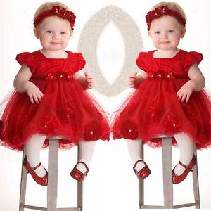2PCS Baby Newborn Girl Kids Lace Pageant Party Princess Tutu Dress+Headband Set