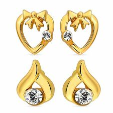Mahi Gold Plated Stud Earrings with Crystal Combo for Women CO4011G