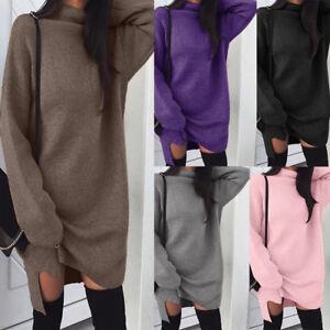 Women-Turtleneck-Knitted-Long-Sleeve-Sweater-Dress-Jumper-Winter-Pullover-Top-AU