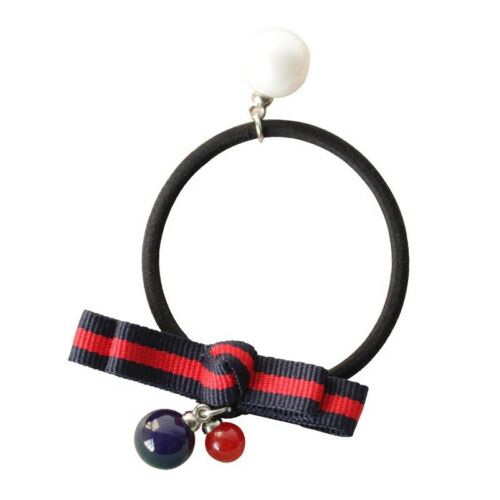 Little Queen  blue and red striped ribbon bow hollow TT elastic fashion hair tie