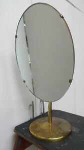 ANTIQUE-SHOP-STORE-COUNTER-TOP-MIRROR-ADJUSTABLE-BRASS-STAND-JEWELLERY-COSMETIC
