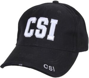 Black-Deluxe-CSI-Crime-Scene-Investigator-Adjustable-Baseball-Hat-Cap