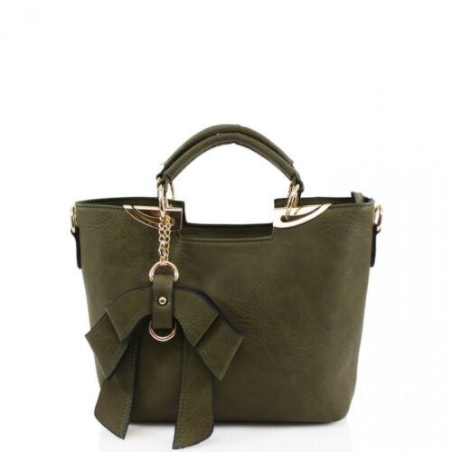 New New Womens Designer Faux Leather Celebrity Tote Bow Bag Ladies Shoulder Hand
