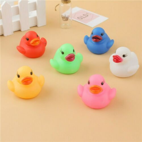 1PCS Colorful Bathtime Rubber Glow Duck Kid Baby Bath Toy Squeaky Play Water Fun