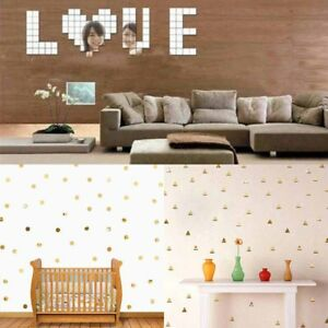 Wall-Stickers-100Pcs-3D-Mirror-2-2cm-Vinyl-Removable-Decal-Home-Decor-Art-DIY