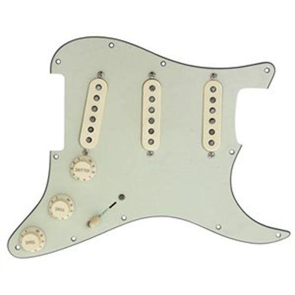 New Fender Loaded Strat Pickguard CS Fat 50s Aged Cream on Mint Grün 7 Way USA