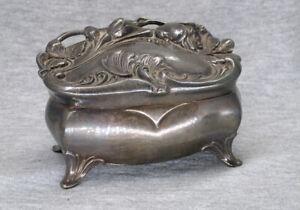 Antique Jennings Brothers JB Métal Bijoux Cercueil bijou box Art nouveau floral
