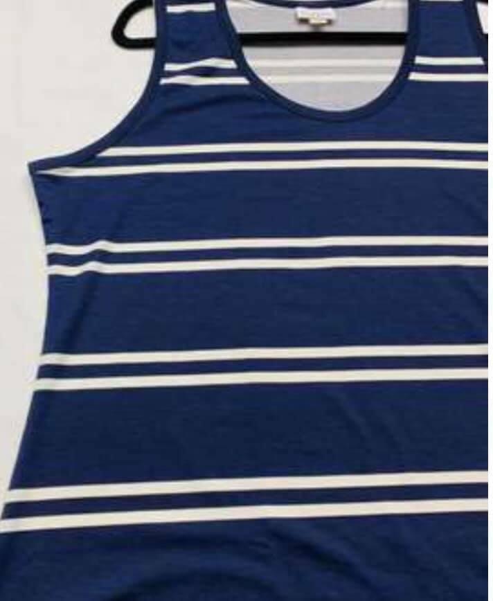 LuLaRoe 3XL 3X TANK oben T Hemd GRAPHIC NAVY Blau Weiß STRIPE AMERICANA JULY 4