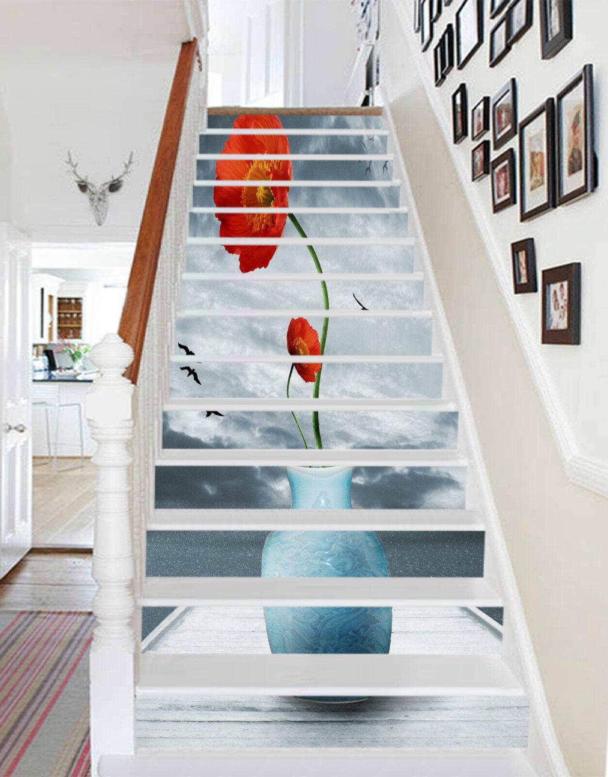3D Blaumenvase 0100 Stair Risers Dekoration Fototapete Vinyl Aufkleber Tapete DE