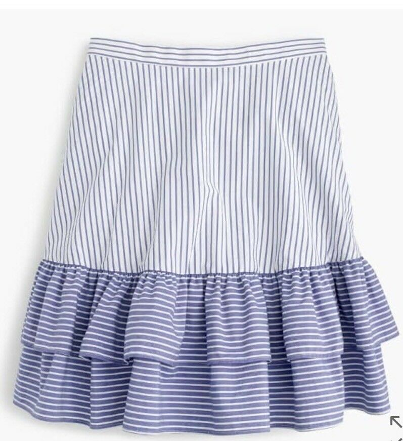 New J Crew Striped Ruffle Skirt White Lagoon Sz 12 G5310