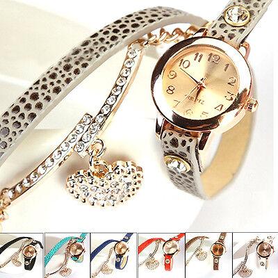 Women's Crystal Heart Pendant Litchi Leather Strap Analog Bracelet Wrist Watch