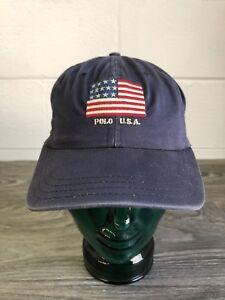 3a13cc35cc9d5 Polo Ralph Lauren Hat Strapback Vtg 80s USA Made Stadium Rare Flag ...