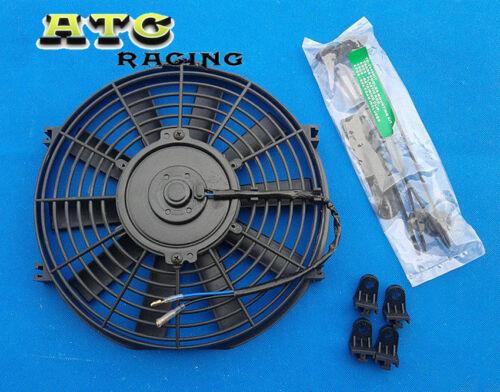 "2 X UNIVERSAL SLIM 10/"" 12V ELECTRIC RADIATOR ENGINE BAY COOLING FAN 10 INCH"