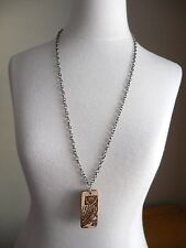 "Oblong Wood ""OWL"" Pendant Necklace w/Antique Silvertone Chain 30"" NWOT"
