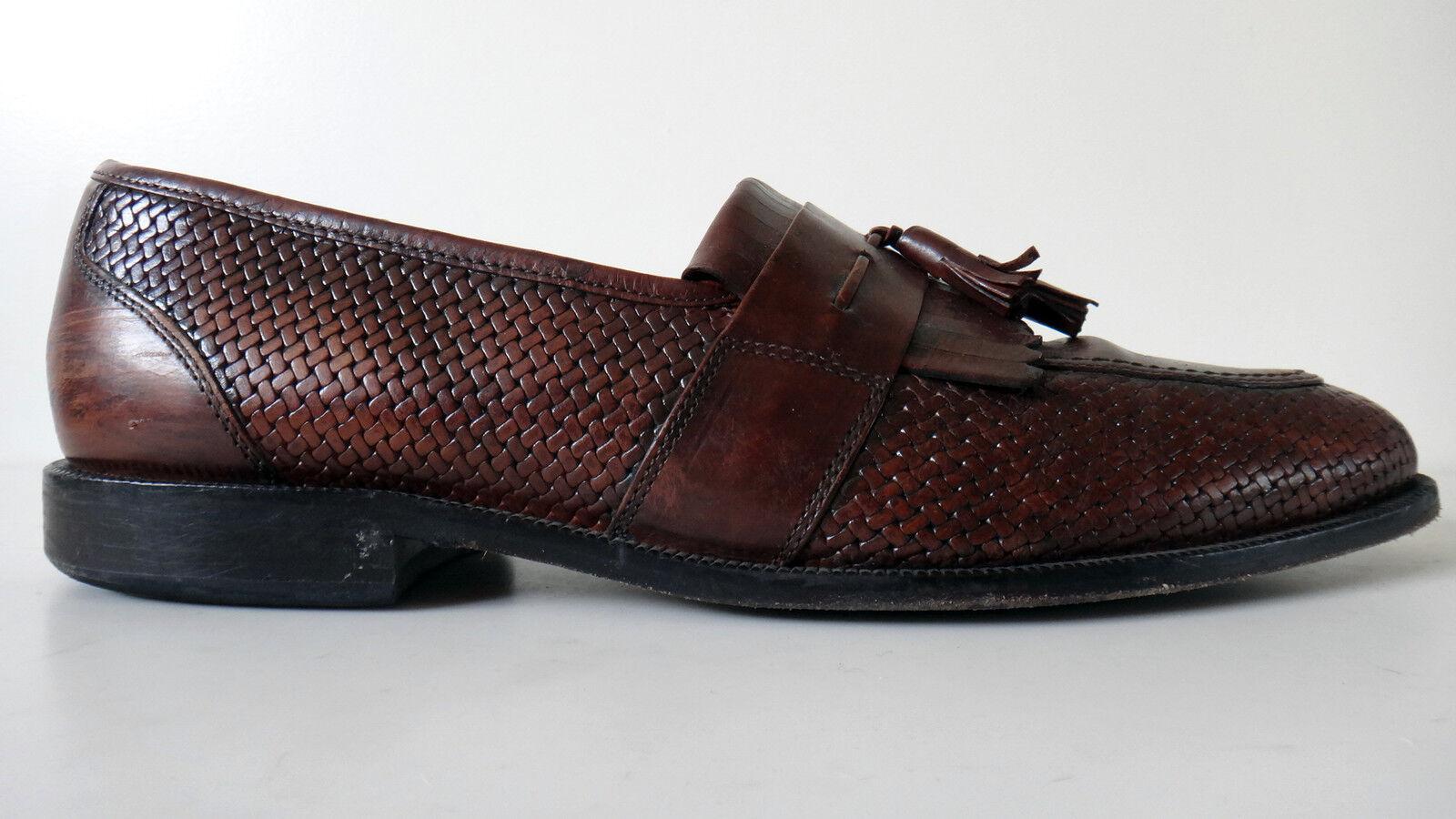 Bostonian basket weave woven tassel loafer fringe 12m brown leather SOLE Scarpe classiche da uomo
