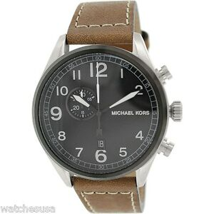 Details about Michael Kors Hangar Men's Black Dial Leather Strap Chronograph Watch MK7068